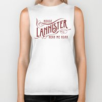 lannister Biker Tanks featuring House Lannister Typography by P3RF3KT