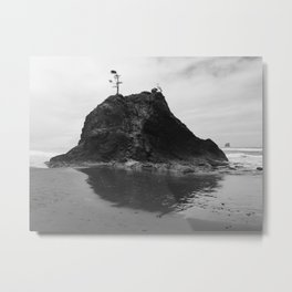 Coastal Island, Tree, B+W, 2nd Beach, Olympic National Park, La Push, Washington Metal Print