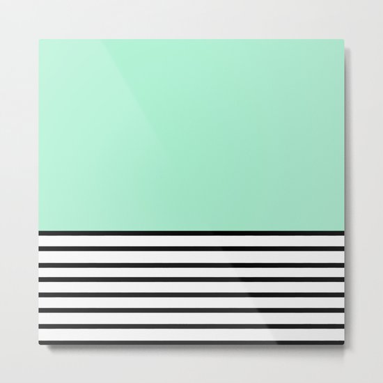 Fresh Mint Black and White stripes pattern Metal Print