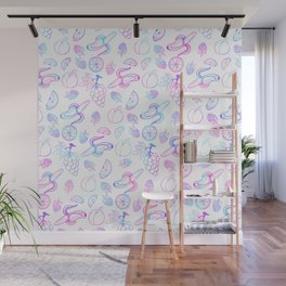 Hand painted teal pink watercolor fruit pattern Wall Mural