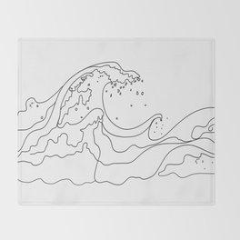 Minimal Line Art Ocean Waves Throw Blanket