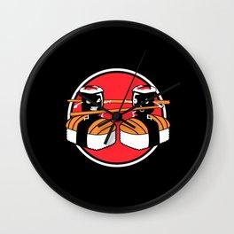 Sushi Fighting Maki Sushi Roll Chopstick Wall Clock