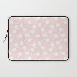 Snowfall White Polka Dots on Pink Laptop Sleeve