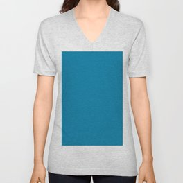 Cerulean Blue Solid Color Unisex V-Neck