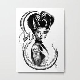 Bride of Frankenstein B&W Metal Print