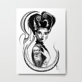 Bride of Frankenstein B&W Metal Print