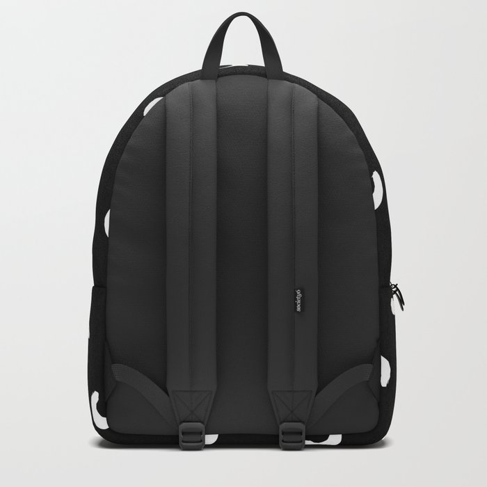 Macaroni squiggle shape abstract black and white minimal pattern modern home office dorm decor Backpack