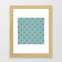 Light Sky Blue3 Gold Glitter Dot Pattern Framed Art Print
