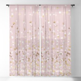 Floating Confetti - Pink Blush and Gold Sheer Curtain