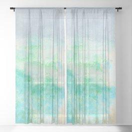 Brielle1 Seashore Oil Pastel Drawing Sheer Curtain