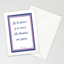 A part of lovely poem from Pablo Neruda (in original spanish) Stationery Cards