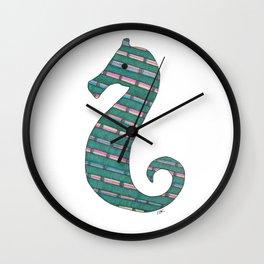 Teal Seahorse Wall Clock