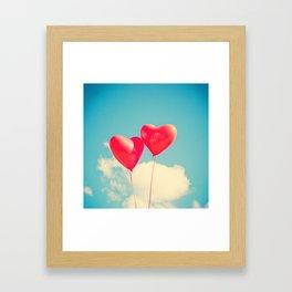Two Heart Balloons in the Sky Framed Art Print