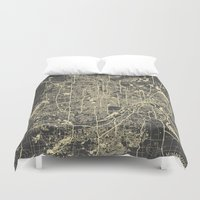 minneapolis Duvet Covers featuring Minneapolis Map by Map Map Maps