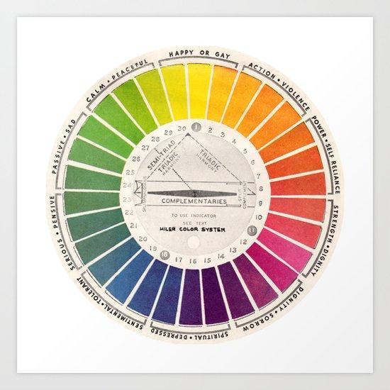 Vintage Color Wheel - Art Teaching Tool - Rainbow Mood Chart Pride by kristiefish