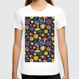 60's Country Mushroom Floral in Black T-shirt