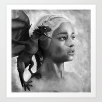 mother of dragons Art Prints featuring Mother Of Dragons by Mirko Monti