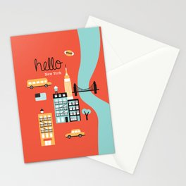 Hello New York - retro manhattan NYC icons illustration Stationery Cards
