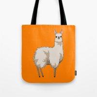 llama Tote Bags featuring Llama by Nemki