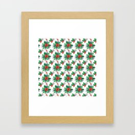 Green red orange Christmas sweet candy holy floral Framed Art Print