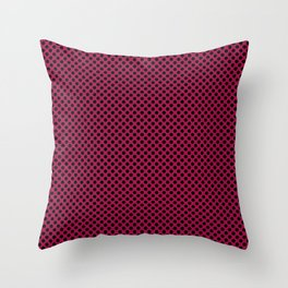 Cerise and Black Polka Dots Throw Pillow