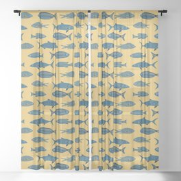 Fishes on Gold Water. Mediterranean Sea Pattern Collection Sheer Curtain