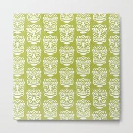 Tiki Pattern Chartreuse Metal Print