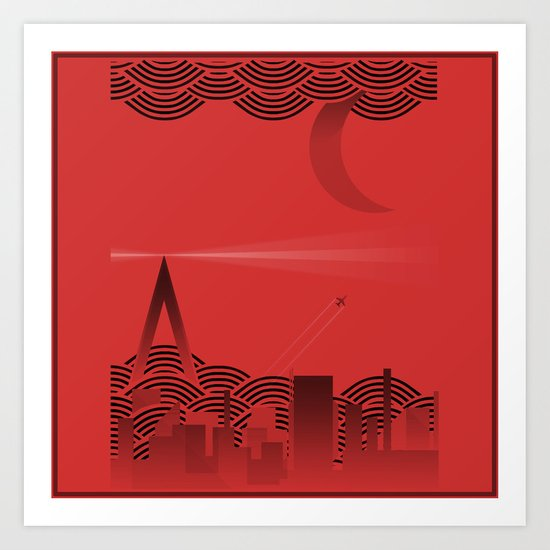 une nuit à paris (red version) Art Print