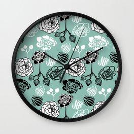 BW Gardenia on Turquoise Wall Clock
