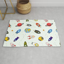 Rockets and planets space print Rug