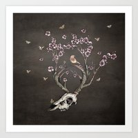 animal skull Art Prints featuring Animal Skull and Butterflies by Paula Belle Flores