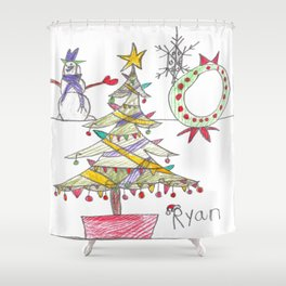 Festive Christmas Scene Shower Curtain