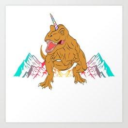 "Unique Dinosaur Shirt For Animal Lovers ""T-rexicorn"" T-shirt Design Jurassic Park Reptiles Colorful Art Print"
