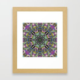 Colourful mandala with decorative shapes and tribal patterns Framed Art Print