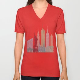 New York skyline poster Unisex V-Neck