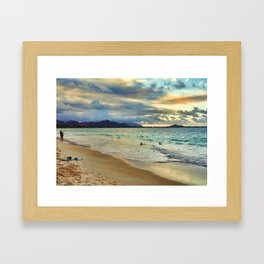 Oahu Island Sunset  Framed Art Print