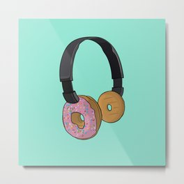 Donut Headphones Metal Print