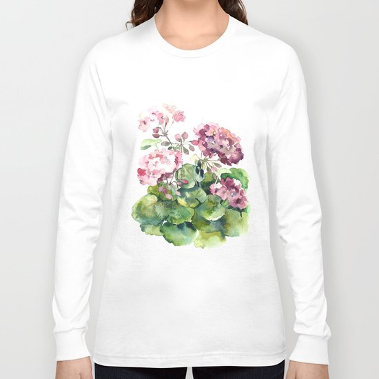 Watercolor pink geranium flowers aquarelle Long Sleeve T-shirt