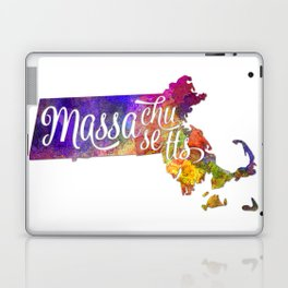 Massachusetts US State in watercolor text cut out Laptop & iPad Skin