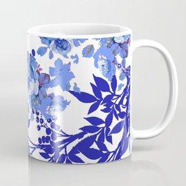 BLUE AND WHITE ROSE LEAF TOILE PATTERN Coffee Mug