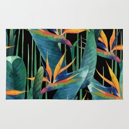 Watercolor Painting Tropical Bird of Paradise Plants large Rug