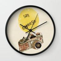 cheese Wall Clocks featuring say cheese by bri.buckley