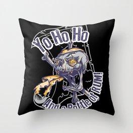 skull and bottle of rum Throw Pillow