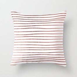 Chic elegant faux rose gold striped pattern Throw Pillow