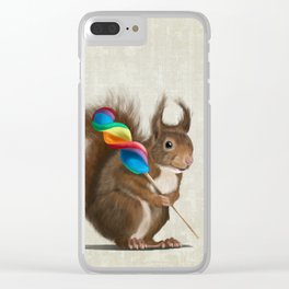 Squirrel with lollipop Clear iPhone Case