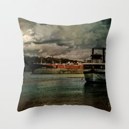 Evening on the Hudson River Throw Pillow
