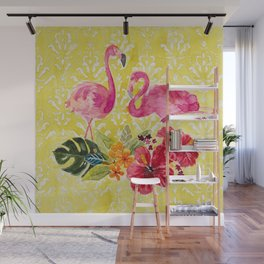 Flamingos On Damask Pattern Wall Mural