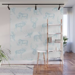 Woodland Critters in Winter Blue Wall Mural