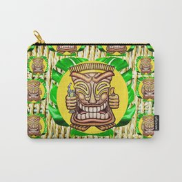 Happy Tiki On Yellow Disc & Leaves Carry-All Pouch