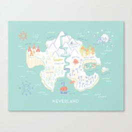 Neverland Map - Full Color Canvas Print